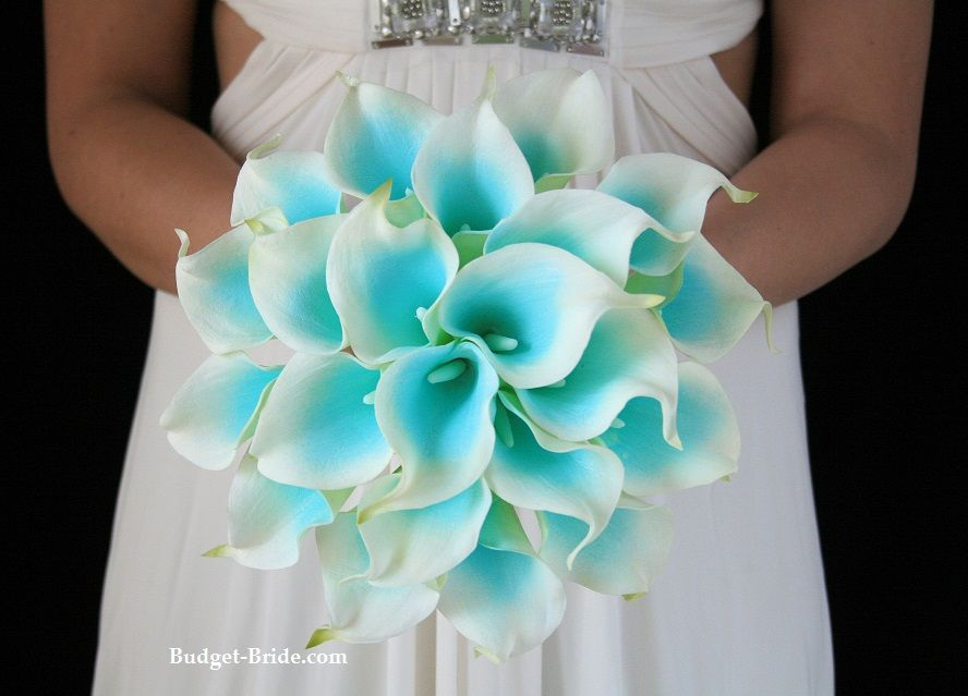 Teal And White Flowers For Wedding Bouquet