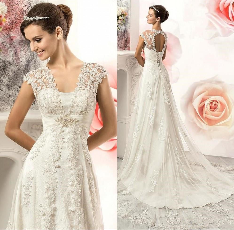 Nice amazing vintage lace country wedding dresses gowns vneck cap