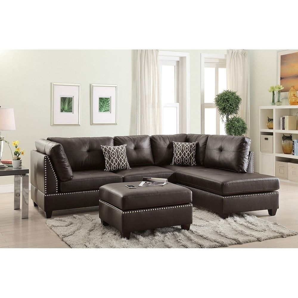 Bobkona Chaise Pine Wood 3 Pcs Reversible Sectional Sofa W Nailheads Decor And Cocktail Ottoman Leather Sectional Sofas Sectional Sofa Sofa Set