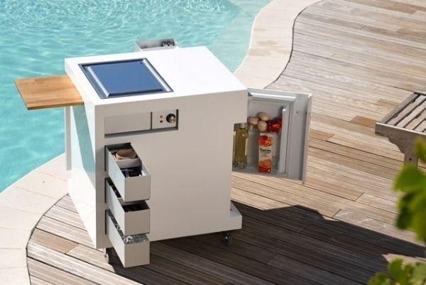 Miniküche ideen  moderne miniküche garten pool bereich rollen mobil ...