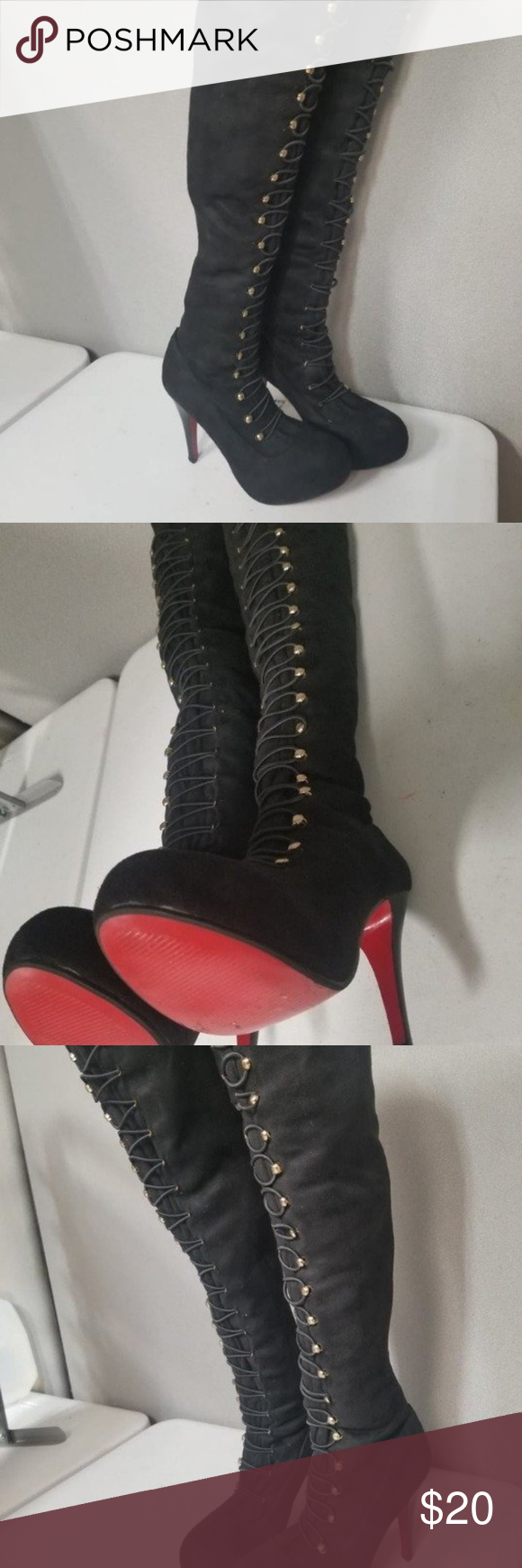 f54c7398f0f Black Thigh High Boots Like new, black, button-up, over-the-knee ...