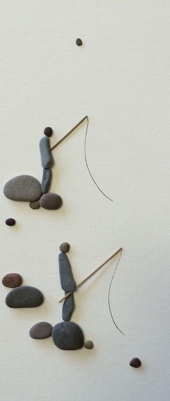 8 by 15 two fishermen pebble art by sharon nowlan by PebbleArt