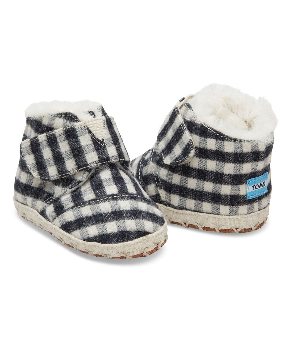 This Black Plaid Brushed Twill Cuna Booties Tiny By Toms Is Tomsis Perfect Zulilyfinds