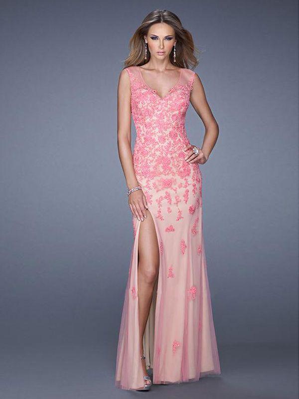 Sheath/Column V-neck Tulle Lace Prom Dresses/Evening Dresses #SP240 ...