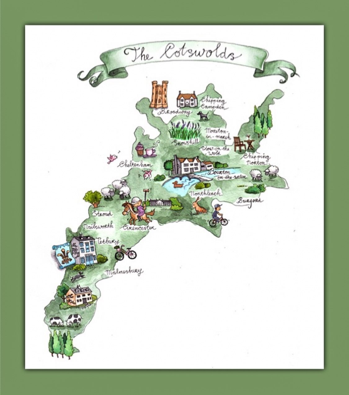 The Cotswolds Map Illustrated Map of The Cotswolds | England | England in 2019