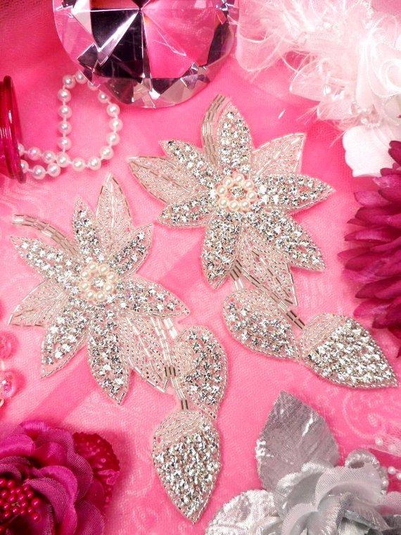 "Silver Beaded Pearl Floral Rhinestone Applique 3.5/"" XR77"