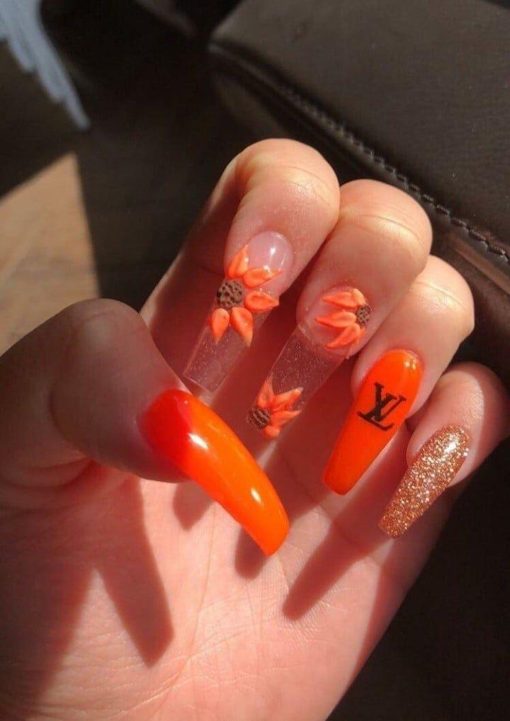 Photo of #on #image #Heart #lange # Nägel #Orange –  #heart #image #lange #nagel #orange