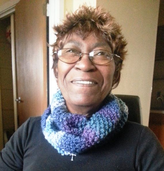 Womans Cowl Scarf  Blue/White/Purple by ThePurpleYarn on Etsy, $35.00