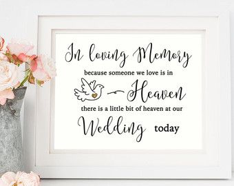 In loving memory sign digital wedding decor by for In loving memory wedding sign