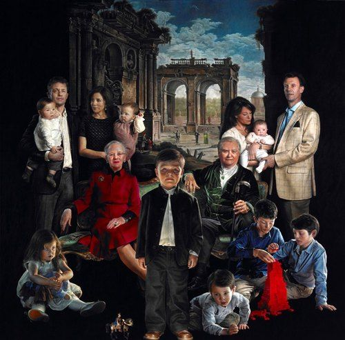 The new portrait of the Danish Royal Family is painted by the Danish artist Thomas Kluge. The painting is a gift to the royal family by a private man who wishes to remain anonymous. I think it's kind of creepy.