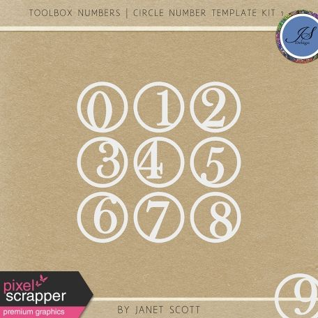 Toolbox Numbers  Circle Number Template Kit   Pixelscrapper