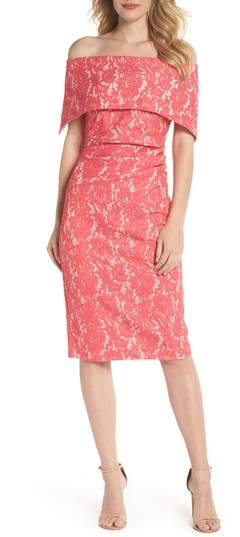 f24774fe Vince Camuto Off the Shoulder Lace Sheath Dress | Products in 2019 ...