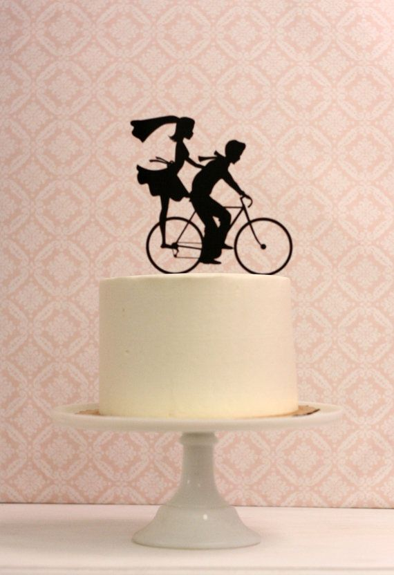 wedding cake toppers bicycle wedding cake topper with and groom silhouettes on 26395