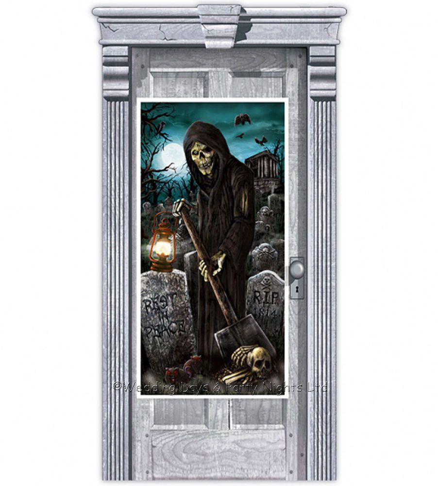 5ft Haunted Graveyard Wall / Door Banner Halloween Scene Setter - door decoration halloween