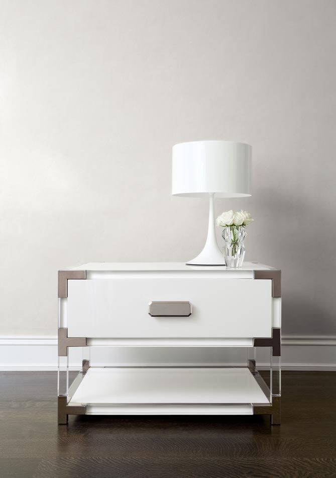 Wood Lucite Mirrored Polished Chrome Side Table At