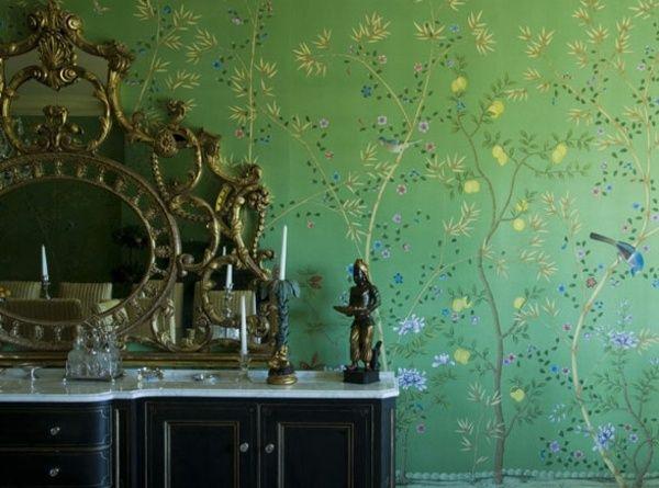 grüne Wandtapeten Schminktisch exotische Möbel Kolonialstil - wohnzimmer tapete grun
