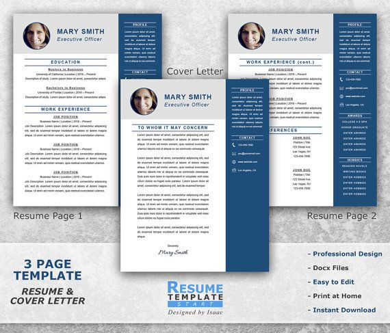 Executive Resume Template Word - Professional Resume Template for