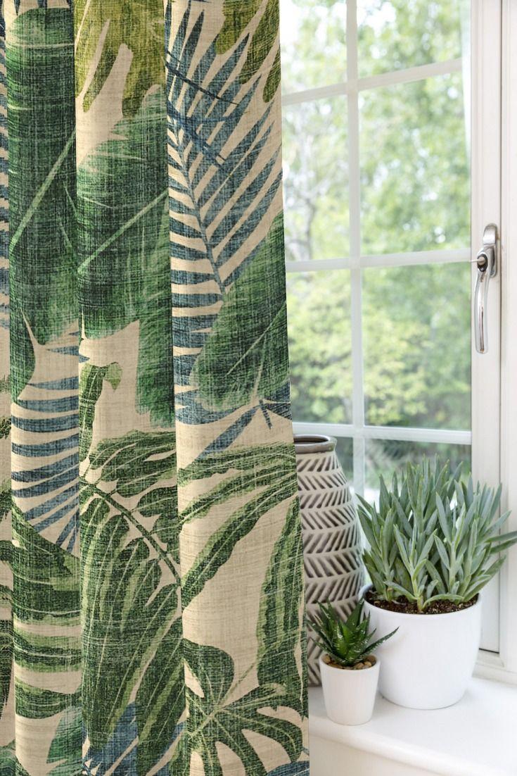 Palm Leaf Velvet Print Curtains In 2020 Leaf Curtains Velvet