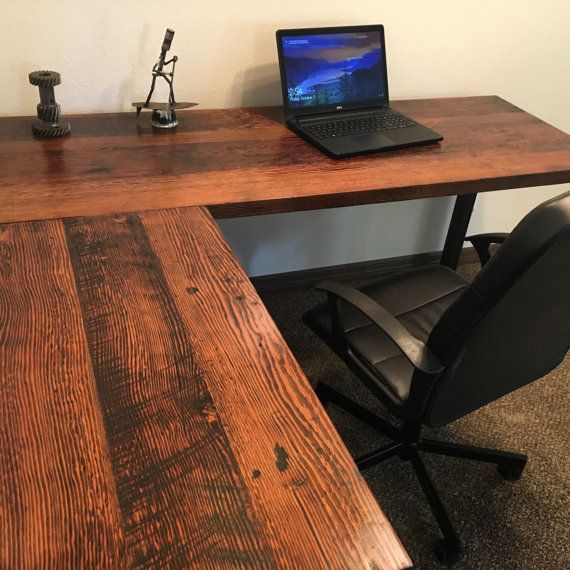L shaped desk reclaimed wood desk wood and steel desk - Escritorios rusticos de madera ...