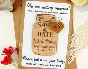Wooden Save The Date Magnet Calendar Mason Jar Save The Date