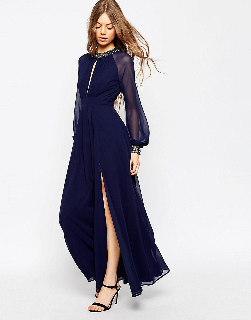 Asos embellished trim long sleeve maxi dress at