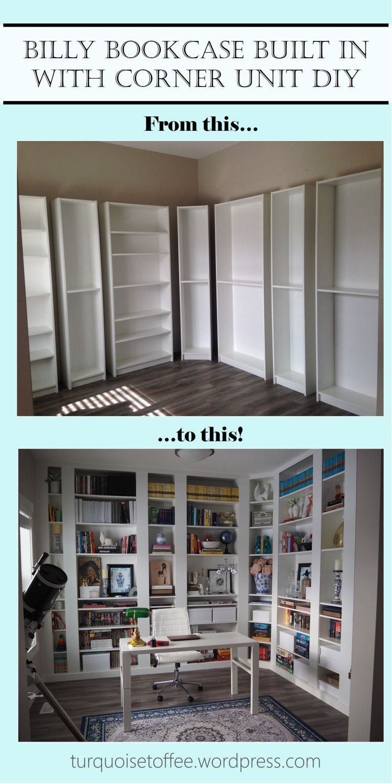 Billy Bookcase Built-In with Corner Unit DIY: Our Library Reveal images