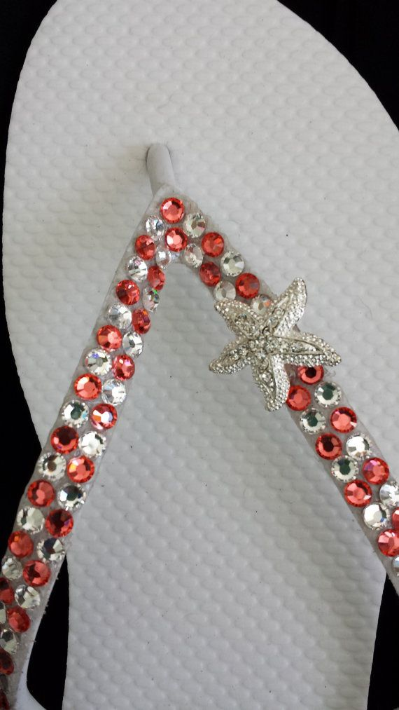 Starfish Swarovski Crystal Bridal Flip Flops Coral By -5803