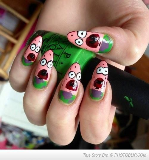 Patrick Star From Spongebob Nails Spongebob Nails Nails Cool Nail Art