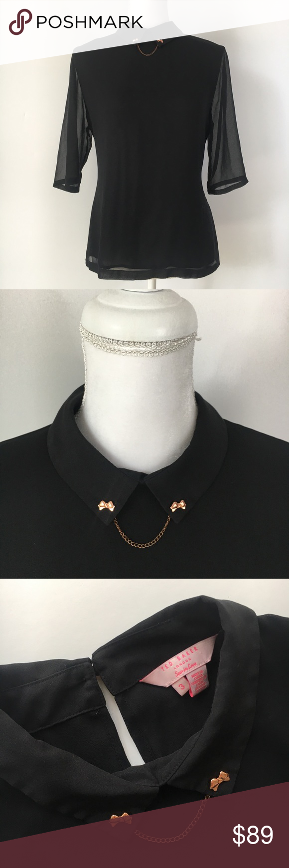 d27c9c93b Ted Baker black collar rose gold bow chain top 8 Ted Baker London black top  rose