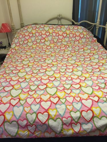 Details About Ikea Vitaminer Hjarta Duvet Cover Twin Size Hearts Pink Yellow Orange White Blue