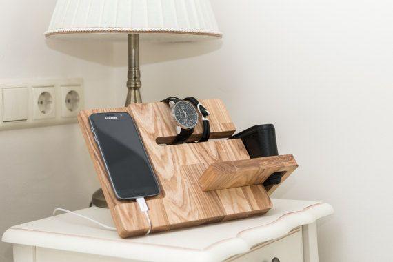 wooden docking station charging station organizer charging. Black Bedroom Furniture Sets. Home Design Ideas