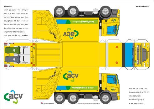 Free Download Paper Model Trucks Bouwplaat Vuilniswagen