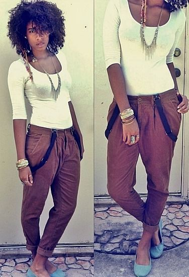 fitted top + trousers + suspenders