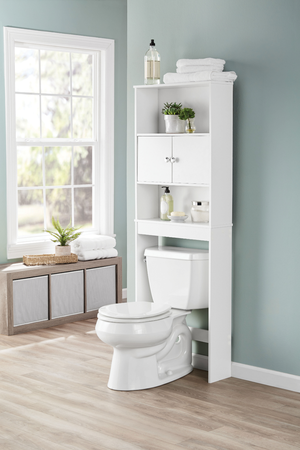 Mainstays Bathroom Storage Over The Toilet Space Saver With Three Fixed Shelves White Walmart Com In 2020 Bathroom Space Saver Bathroom Storage Cabinet Over The Toilet Cabinet