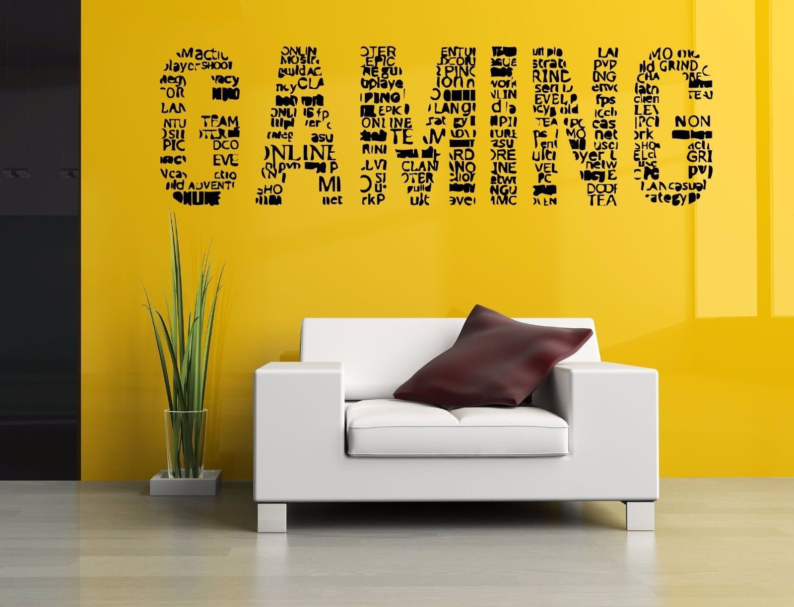 Wall Room Decor Art Vinyl Sticker Mural Decal Gaming Word Gamer Big ...