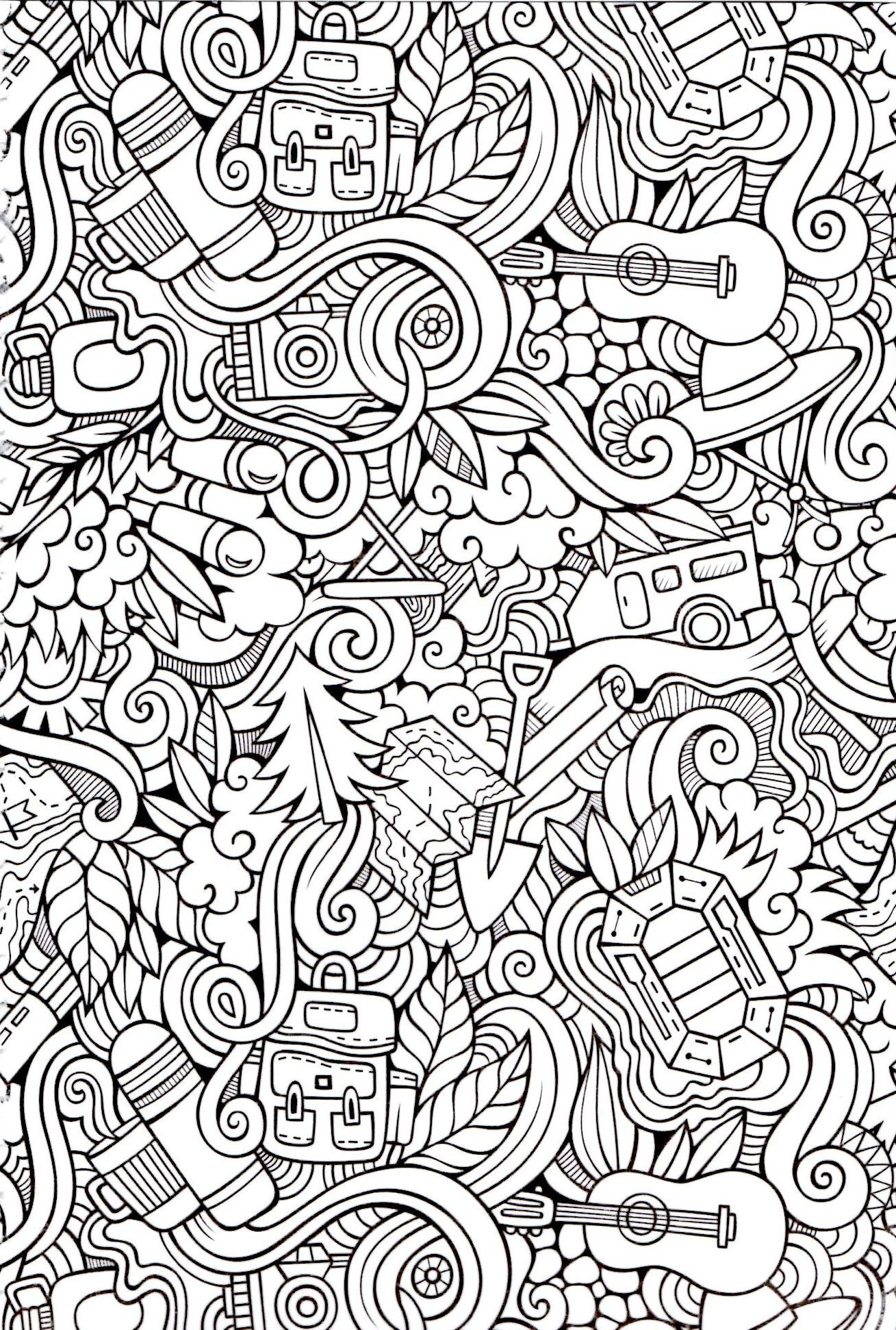Camping Time Coloring Page | Coloring Pages for Adults | Pinterest ...