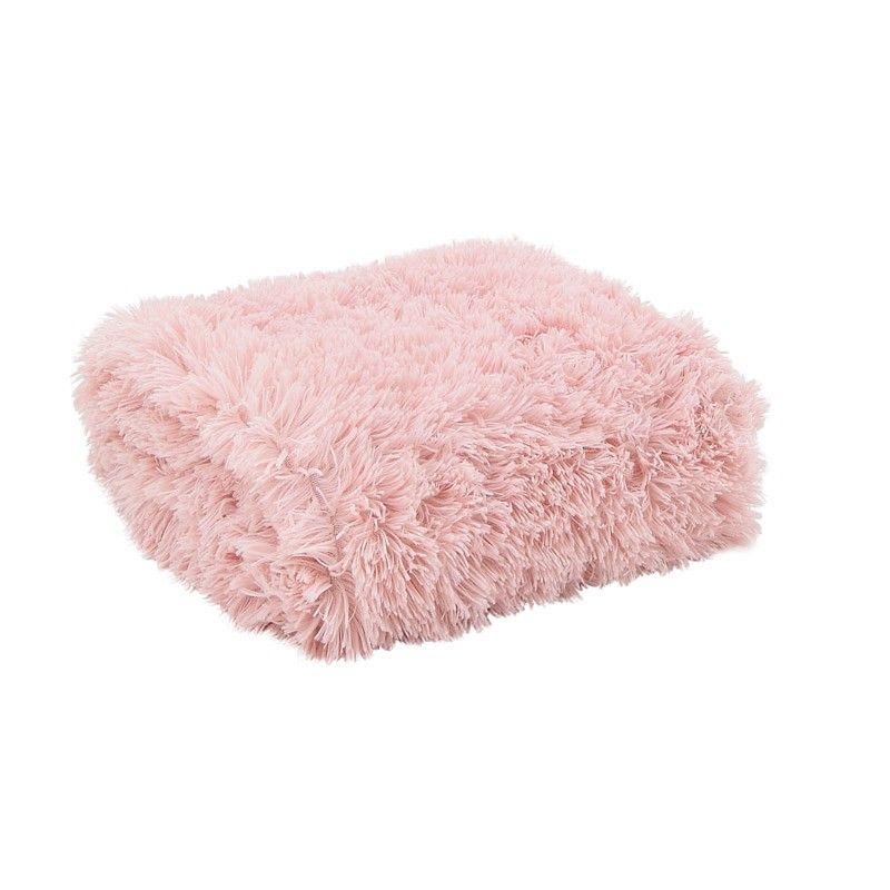 plaid effet fourrure rose poudr 39 cl mence 39 boudoir. Black Bedroom Furniture Sets. Home Design Ideas