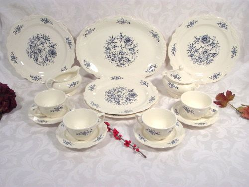 Homer Laughlin Dresden Imperial Blue Dinnerware 16 PC Set - Plates Cups Saucers Platter Sugar Creamer & Homer Laughlin Dresden Imperial Blue Dinnerware 16 PC Set - Plates ...