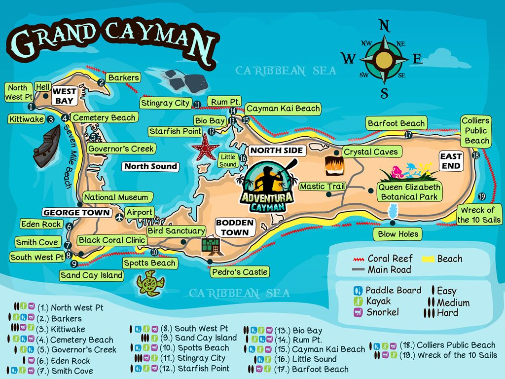 photograph about Printable Map of Grand Cayman identified as Locate the simplest Components in direction of do inside of Grand Cayman - Map of Grand