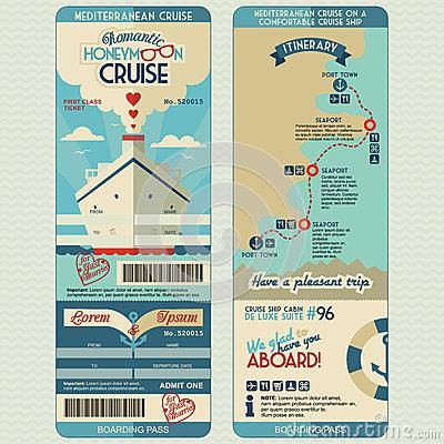 Free Cruise Ship Boarding Pass Design Template Honeymoon
