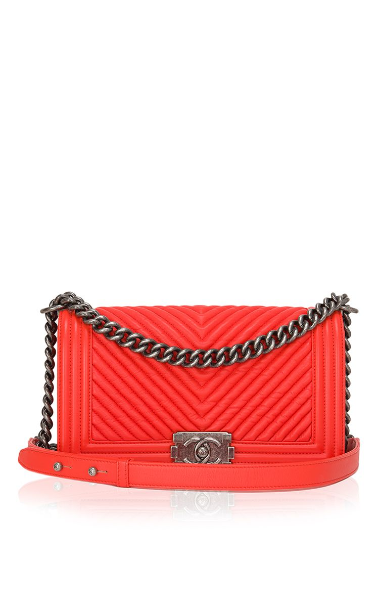db34ed5e8635 Chanel Orange Chevron Medium Boy Bag - Preorder now on Moda Operandi ...