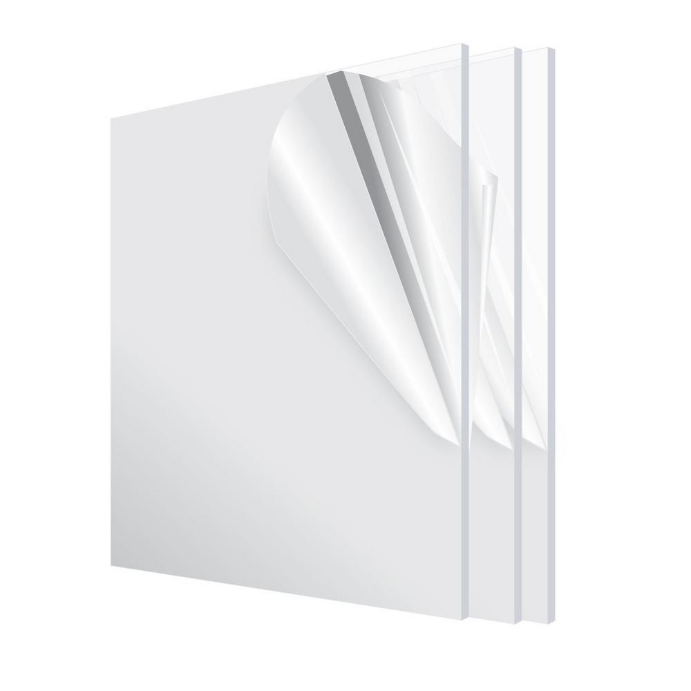 Adiroffice 12 In X 12 In X 1 8 In Clear Plexiglass Acrylic Sheet 3 Pack 1212 3 C The Home Depot In 2020 Clear Plexiglass Acrylic Sheets Clear Acrylic Sheet