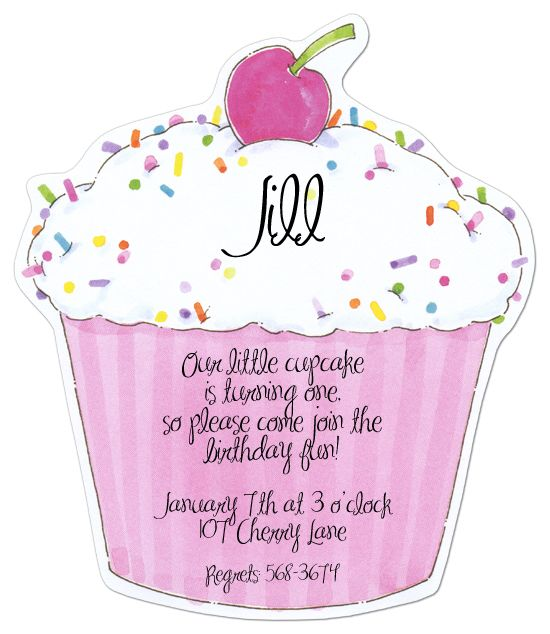 Pink Cupcake Diecut Kids Birthday Party Invitation Toddler Invitations