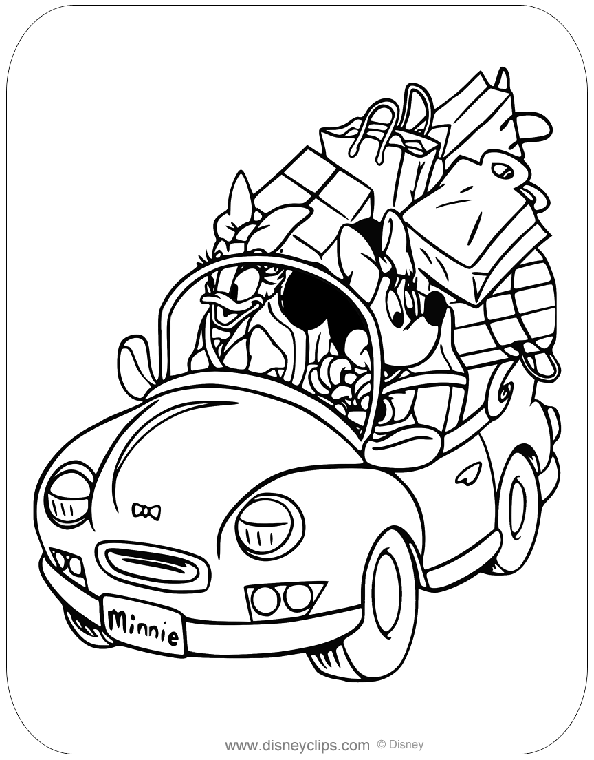 Coloring Page Of Minnie Mouse And Daisy Duck Returning From A Big
