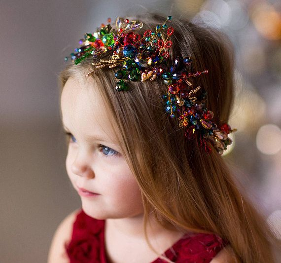 Christmas headband -Red & Green baby headpiece- Gold christmas flower crown -Girls christmas hair wr #bridalhair