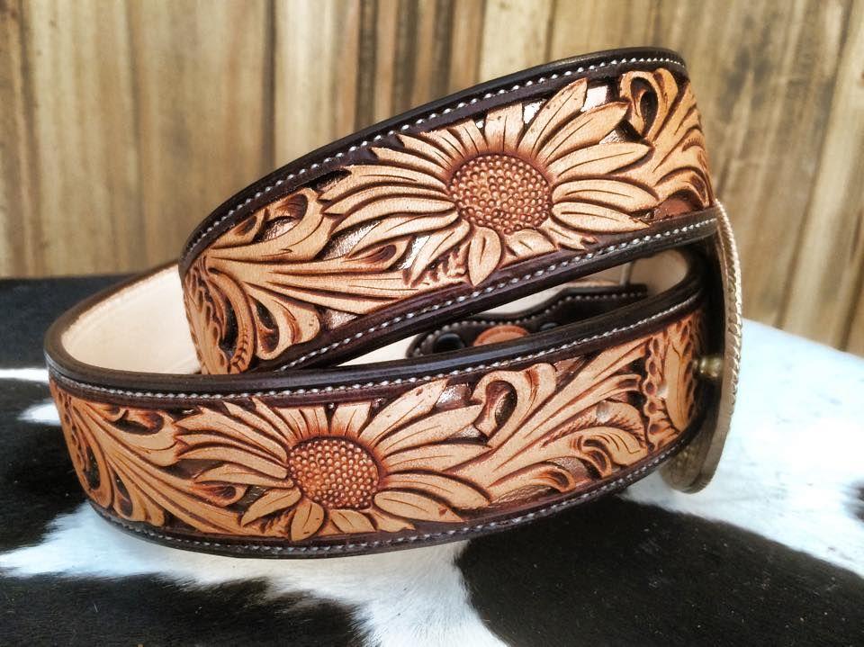 Leather Cowboy Belt Hand Tooled Western Style Belt Cinto Cincelado Vaquero