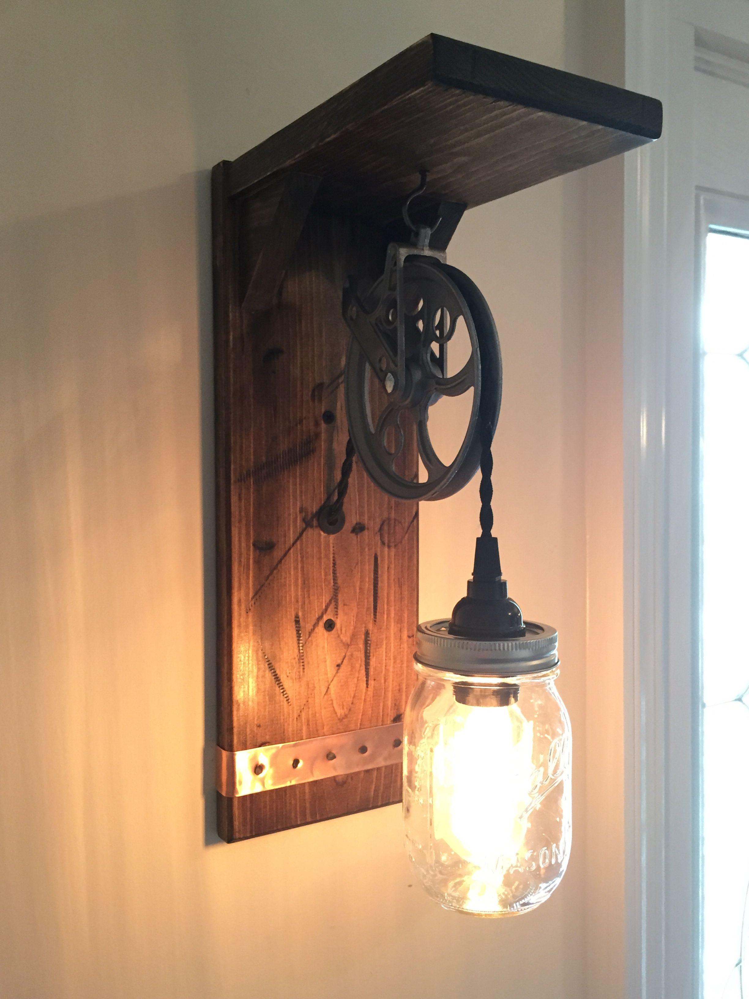 Rustic Steampunk Wall Light With Barn Wood Mason Jar Pulley Etsy In 2020 Mason Jar Lighting Rustic Lighting Rustic Mason Jars