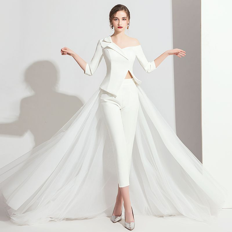 037e54e199ac4 Advertisement; Modern / Fashion White Jumpsuit 2019 One-Shoulder 3/4 Sleeve  Sweep Train Backless