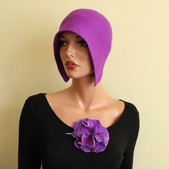 Purple hat Felted hat with brooch Felt hat Dark by ZiemskaArt