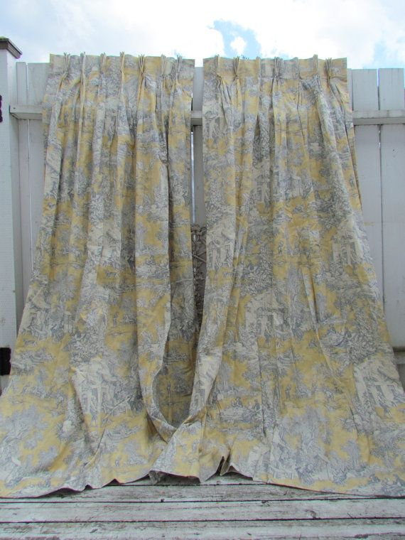 Golden Yellow And Blue Toile Curtains D By Vannasarmoire